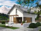 Проект индивидуального одноэтажного жилого дома с мансардой, террасой и балконом